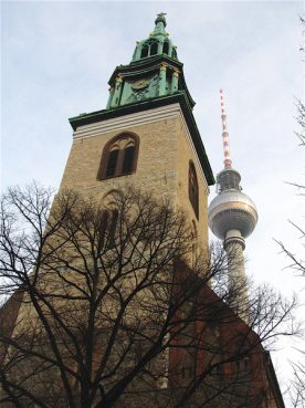 At St. Mary's Church, near Berlin's bustling Alexanderplatz, an evangelical pastor, a rabbi and an imam have conducted interfaith services on special occasions for the past two years. RNS photo by Melanie Sevcenko