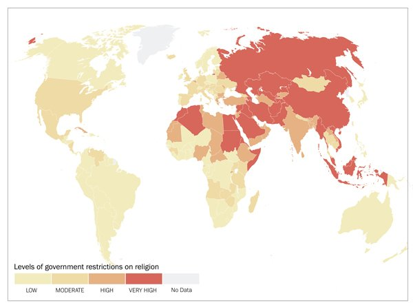 53 billion people face harsh religious freedom restrictions levels of government restrictions on religion map courtesy of pew research center gumiabroncs Image collections