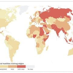 """Levels of social hostilities involving religion"" map courtesy of Pew Research Center."