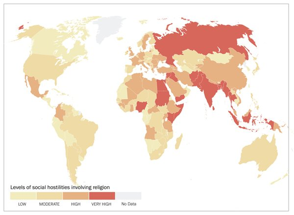 Billion People Face Harsh Religious Freedom Restrictions - Religion map of world 2014