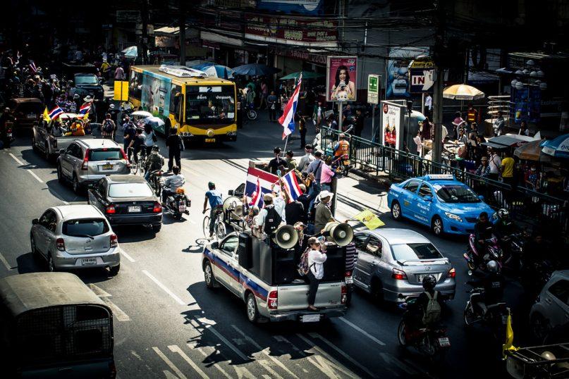 Protesting on the Streets of Bangkok.