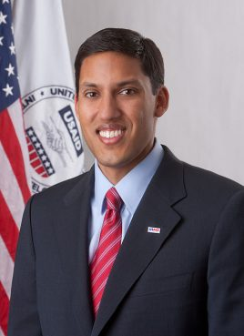 Official portrait of USAID Administrator Rajiv Shah.