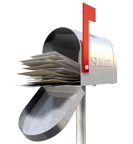 Image of open old school retro tin mailbox, via Shutterstock