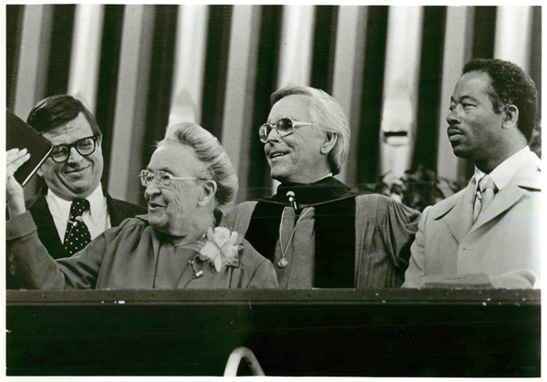 """(1977) With Dr. Robert Schuller, second from right, in the pulpit of Garden Grove, Calif., Community Church are, left to right, three """"born again"""" witnesses Charles Colson, of Watergate notoriety; Corrie ten Boom, 84, one-time Nazi concentration camp prisoner while family saved many Jews and Eldridge Cleaver, former Black Panther and militant Marxist. The trio was invited by Dr. Schuller to illustrate his Sunday morning sermon, """"How to Climb Down a Mountain Without Falling."""" Religion News Service file photo"""