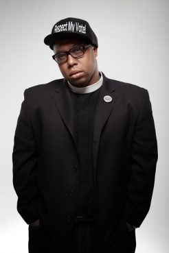 The Rev. Lennox Yearwood, CEO of the Hip-Hop Caucus, which works to engage young minorities on policy issues, takes part in marches on the birthday of the late Rev. Martin Luther King Jr. that challenge the fossil fuel industry. Photo courtesy of Hip Hop Caucus