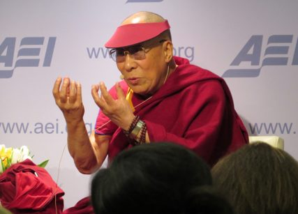 "The Dalai Lama, the spiritual leader of Tibetan Buddhism, speaks to the American Enterprise Institute on Thursday (Feb. 20) in Washington, D.C. The think tank, which advocates for the strengthening of free market capitalism, asked the Dalai Lama to participate in discussions on ""Economics, Happiness, and the Search for a Better Life."" RNS photo by Lauren Markoe"