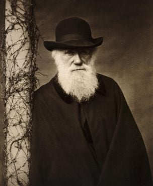 """""""Questioning Darwin,"""" a new, hourlong documentary airing on HBO throughout February, juxtaposes the story of the 19th-century British naturalist with looks into the lives of contemporary American Christians who believe the world was created in six days, as described in the Book of Genesis. Portrait of Charles Darwin (c. 1880) courtesy of HBO"""