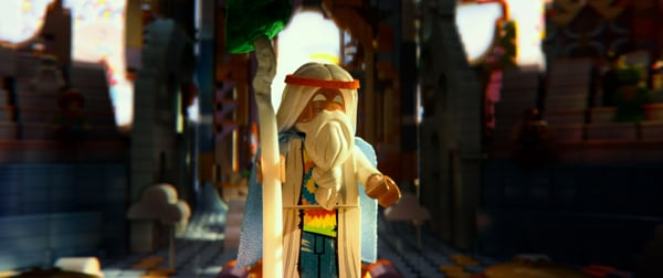 LEGO minifigure Vitruvius (voiced by Morgan Freeman) in the 3D computer animated adventure
