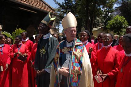 Archbishop Justin Welby with Archbishop Eliud Wabukala during Welby's recent visit to Nairobi. RNS photo by Fredrick Nzwili