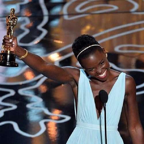 A triumphant Lupita Nyong'o - Photo by carbonfibreme via Flickr (http://bit.ly/NoaaZt)