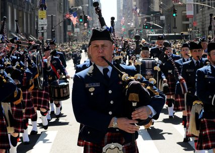 Members of the U.S. Coast Guard Pipe Band march up Fifth Avenue in the 250th St. Patrick's Day Parade, Manhattan, N.Y., March 17, 2010. Photo by Petty Officer Seth Johnson via Wikimedia Commons.