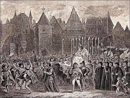 An artistic depiction of the Feast of Fools, with Quasimodo, at Notre Dame, Paris.