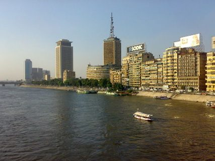 A view of the Maspero Television building (center).