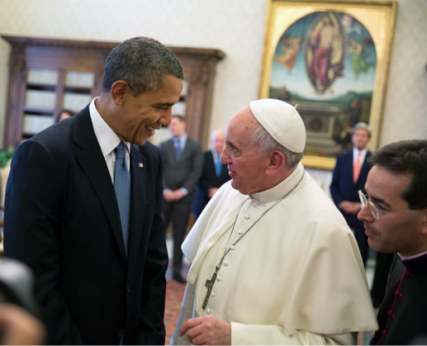Pope Francis meets President Obama at the Vatican. White House photo courtesy Pete Souza.