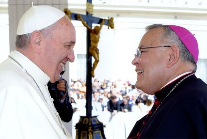 Charles J. Chaput, archbishop of Philadelphia, with Pope Francis in Rome, in September 2013. Photo courtesy of Vatican Information Services/Philadelphia Archbishop Charles Chaput's Facebook page