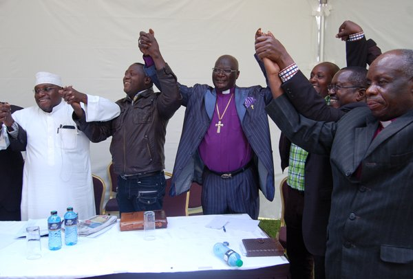 """Bishop Arthur Gitonga, center, of the Redeemed Church in Kenya. The powerful East African Pentecostal church leader led the group in launching """"Zuia Sodom Kabisa,"""