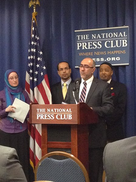 Oussama Jammal, secretary general of the U.S. Council of Muslim Organizations, center, speaks during a press conference introducing the U.S. Council of Muslim Organizations on Wednesday (March 12) in Washington, D.C. RNS photo by Amanda Murphy