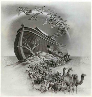 The story of Noah and The Ark as it appeared on the cover of the first album in a collection of sixteen dramatized Bible stories released by the Library of Sound Education, Inc. This illustration is one of eight done by famed American artist Steele Savage. Religion News Service file photo