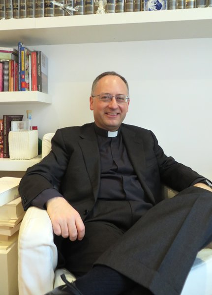 The Rev. Antonio Spadaro, an Italian Jesuit who has interviewed Pope Francis, in his office at the Jesuit journal, Civilta Cattolica, in Rome. RNS photo by David Gibson