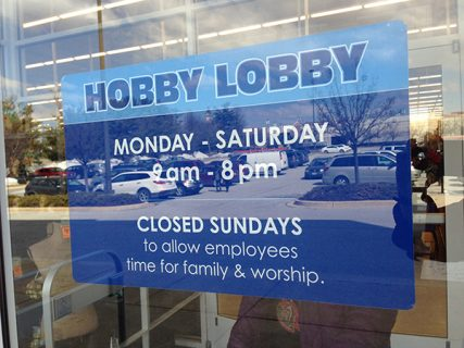 All Hobby Lobby stores are closed on Sundays and customers can easily learn why. RNS photo by Cathy Lynn Grossman