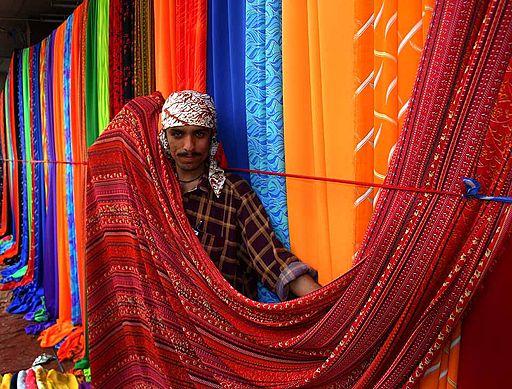 Sunday textile market on the sidewalks of Karachi, Pakistan.