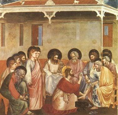 Giotto di Bondone (1267-1337), Cappella Scrovegni a Padova, Life of Christ, Washing of Feet.