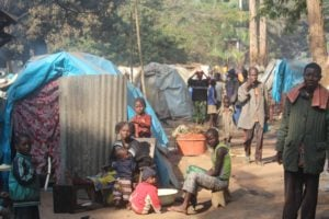 Scene of a refugee camp in the Central African Republic.