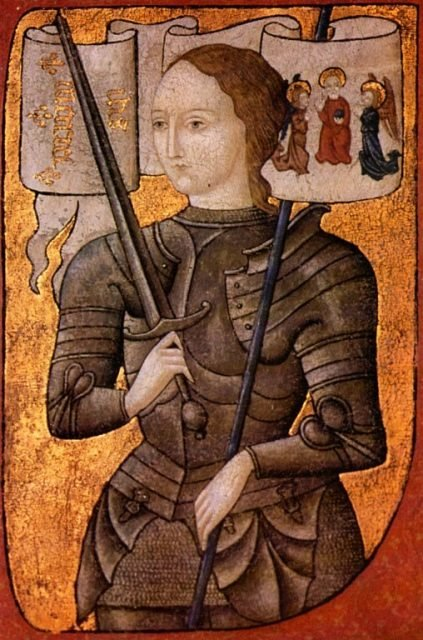 'Joan of Arc' oil on parchment painting (between 1450 and 1500).