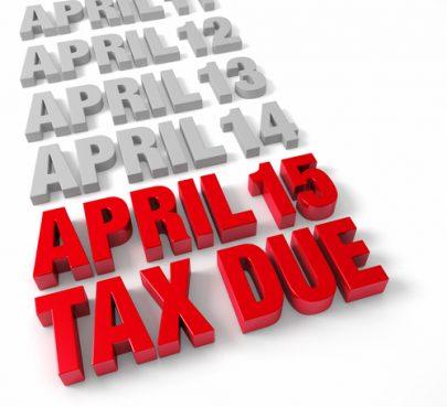 April 15 Tax Due sign