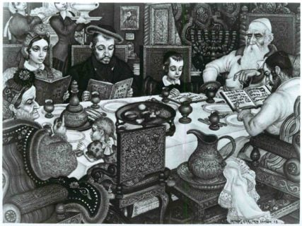 An old-world Passover Seder is depicted by Arthur Szyk. Religion News Service file photo