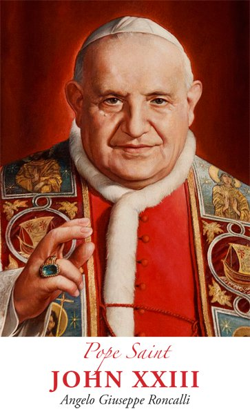 The Pope John XXIII prayer card, which was designed and printed by Pilot Bulletins in recognition of this weekend's canonizations. Photo courtesy of Pilot Bulletins