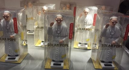 Solar popes can be found in Rome among souvenirs. Photo by Sarah Pulliam Bailey for RNS.