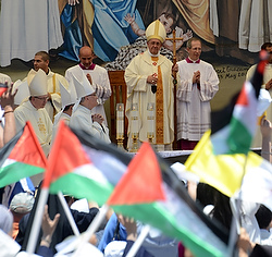 Pope Francis celebrates Mass May 25 in Manger Square outside the Church of the Nativity in Bethlehem, West Bank.