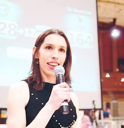 Activist Kayley Whalen, announcing a D.C. Rollergirls bout.