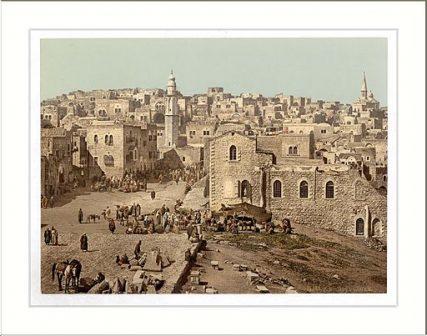 Drawing of the marketplace in Bethlehem Holy Land (i.e. West Bank).