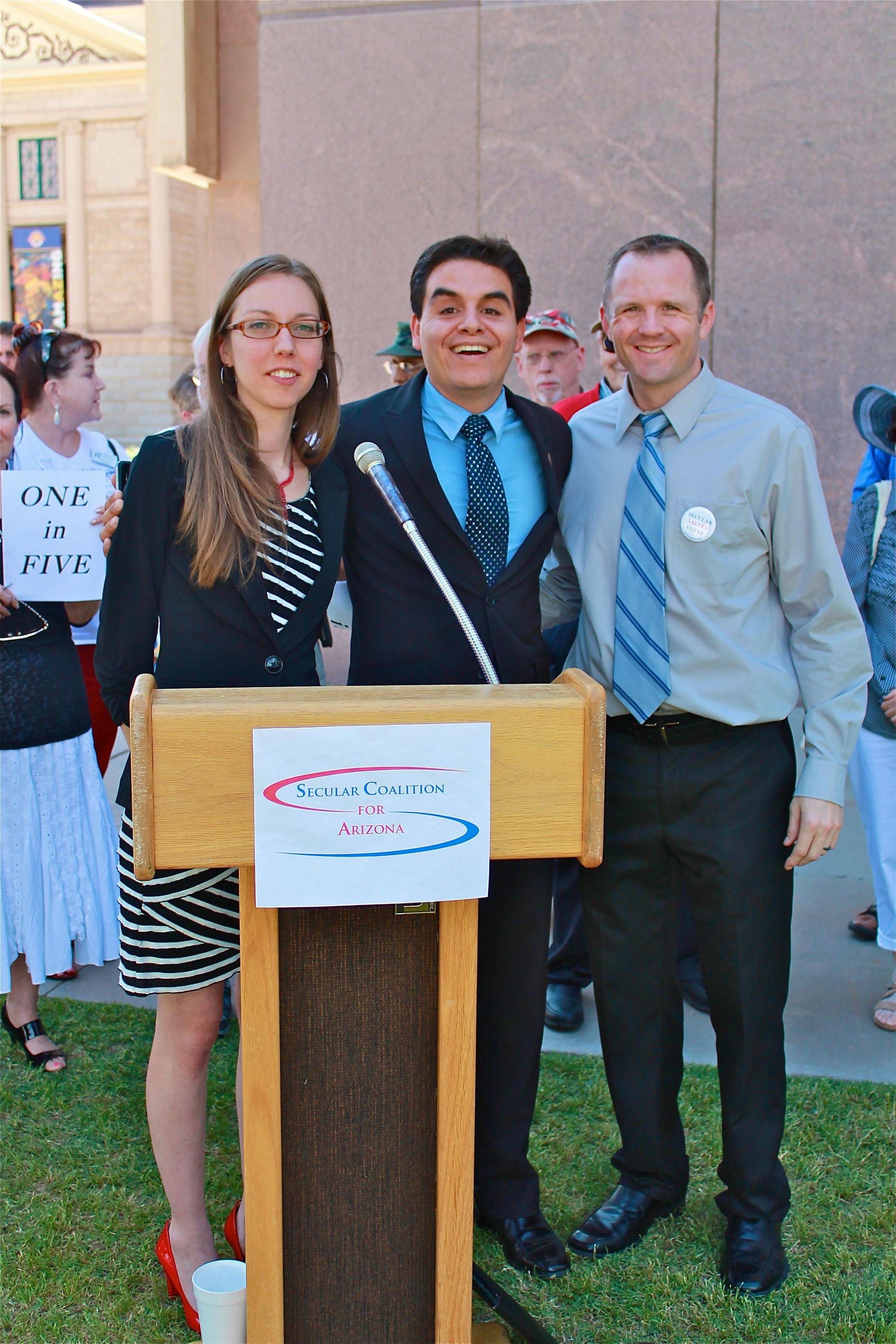 Arizona Rep. Juan Mendez with secular lobbyist Seráh Blain and Secular Coalition for Arizona's Matt Schoenley after giving his Humanist invocation in May 2013.