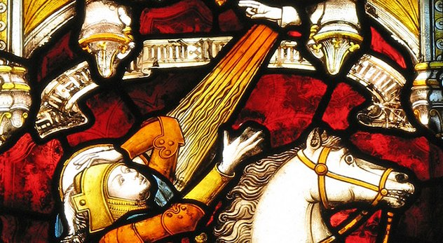 "Jesus' love-your-enemies ethic is often juxtaposed with Paul's sword-bearing theology in Romans 13. Who should Christians side with? - Image of ""Conversion of St. Paul"" from St. John's College, Oxford, courtesy of Lawrence OP (http://bit.ly/1ngmtnB)"