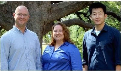 Brian Altenhofen, Wendi Bellar and James Cho, research team members, Department of Communication, Texas A&M University Photo by Malachi Killgore for Texas A&M University. Used by Permission.