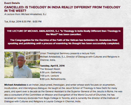 Screenshot of the announcement to cancel Michael Amaladoss' lecture at Union Theological Seminary in New York.