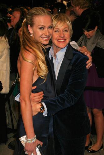 Ellen DeGeneres hugs Portia de Rossi at the 2007 Vanity Fair Oscar Party.