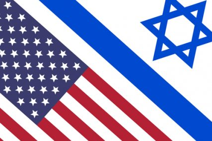 Israel and USA flags face to face, a symbol for the relationship between the two countries.