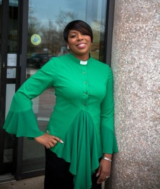 Camelle Daley, a London-trained fashion designer who founded the label House of ilona, has launched a new range of clerical wear for women in the Church of England. Photo courtesy of Jonathan Self