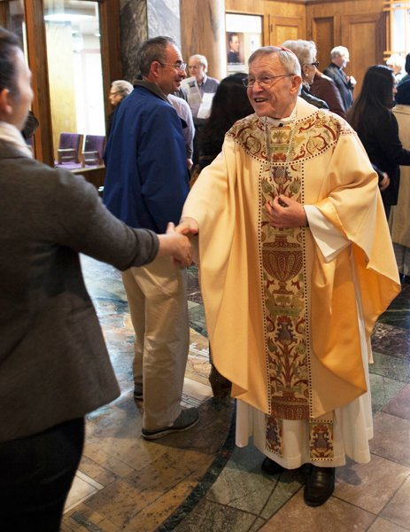 Cardinal Walter Kasper greets parishioners after mass at the Church of St. Paul the Apostle in New York City. Photo courtesy of Trace Murphy