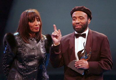 Gospel music singer and composer Andrae Crouch  thanks his sister Sandra Crouch during the 18th Annual Stellar Gospel Music Awards in Atlanta, Ga.