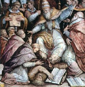 Pope Gregory IX is shown excommunicating Emperor Frederick II. Although the Catholics invented the practice of excommunication to deal with severe sins, other religious groups have also adopted it for their own purposes.