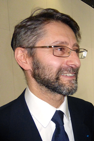 France's newly elected Chief Rabbi, Haim Korsia, speaks to reporters at the Convention Center in Paris.