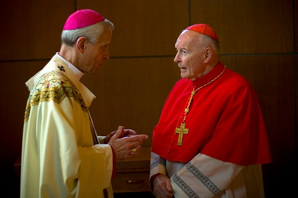 (RNS1-JUNE 16) Archbishop Donald Wuerl of Washington chats with his predecessor, Cardinal Theodore McCarrick, before an ordination Mass at Washington's Basilica of the National Shrine of the Immaculate Conception.