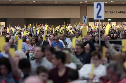 Thousands of Southern Baptist Convention delegates voted on a new president and several resolutions at their meeting on June 10, 2014. Photo by Van Payne via Baptist Press