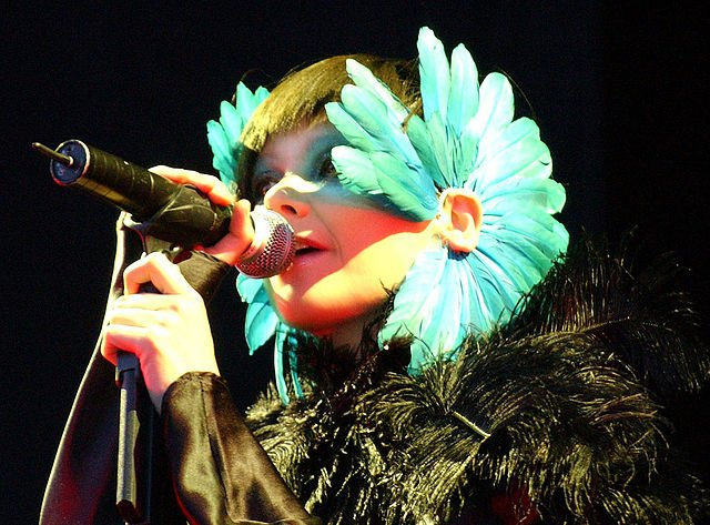 Björk performing at the Hurricane Festival in 2003.