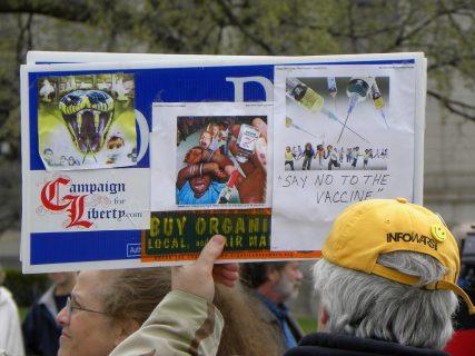 Anti-vaccination protester at Tea Party Rally. Photo courtesy Fibonacci Blue via Flickr Creative Commons.